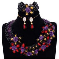 mor takılar setleri toptan satış-Toptan Siyah Mor Mücevherat Seti Afrika Kırmızı Altın Çiçekler Ile Kadınlar Düğün Takı Setleri Ücretsiz Nakliye Nijeryalı Boncuk