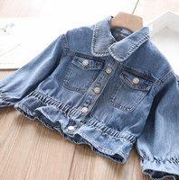 Wholesale girls jackets embroidered resale online - 2020 New Girls letter embroidered denim jacket children falbala cowboy outwear kids lapel single breasted denim jackets A3266