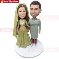 Wholesale head accessory bride resale online - Indian Groom Bride Personalized Wedding Cake Topper Bobble Head Clay Figurine Traditional Bride Cake Topper