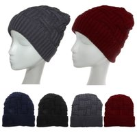голубая красная шапочка оптовых-Men Women Knit Baggy Beanie Warm Winter Hat Slouchy Chic Knitted Cap Skull Blue/Black/Deep Gray/Wine Red