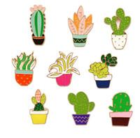 broş stilleri toptan satış-2019 Yeni Varış Yaratıcı Çim Saksı Bitkileri Kaktüs Çiçekler Bırak Yağ Iğneler Broş 9 Stilleri X1128