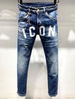 avrupa ebatlı kot toptan satış-H826 Erkek 2019 Lüks Giysi Tasarımcısı Baskı harfler Erkek Tasarımcı Kot Avrupa Ve Amerikan Yırtık Kot Boyutu 28-38
