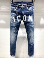 roupas venda por atacado-H826 Mens 2019 Roupas De Grife de Luxo Letras de Impressão Mens Jeans Designer Europeus E Americanos Jeans Rasgado Tamanho 28-38