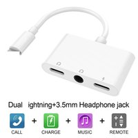 Wholesale splitter connector adapter online - 3 in Headphone Splitter Dual music connector mm Headphone Jack Audio Adapter for iphone