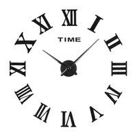 saat arka planları toptan satış-80 CM Yaratıcı Akrilik Duvar Saati Duvar Sticker DIY Ev Oturma Odası Kanepe Arka Plan Dekor Ayna Akrilik Saat Çıkartmalar
