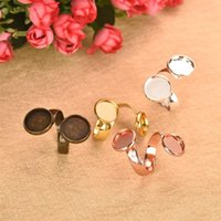 anillo de joyas en blanco bandejas al por mayor-5pcs / Lot Fit 10 12mm 5 colores Cabochon Ring Blank Double Circle Base Time Gem Settings Tray para DIY Ring Jewelry Findings