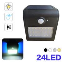 BRELONG Solar Outdoor Waterproof Wall Light IP65 24LED 7 Watt Wireless PIR Motion Sensor Light Human Body Induction Black White Silver Gold