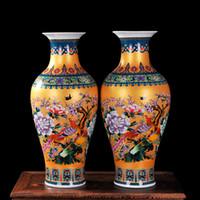 antiquitäten chinesische vasen großhandel-Luxus Antike Porzellan Emaille Fischschwanz Form Vase Klassische Dekoration Große Chinesische Vasen Antike Palast Vasen