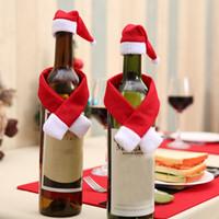 kırmızı şapka giysileri toptan satış-2pcs / Set Noel Dekorasyon Kırmızı Şarap Şişesi Ev Noel Yemeği Partisi Veya Hediye Ücretsiz Nakliye Şapkalar ile Clothes Kapaklar