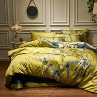 Wholesale black comforter white flowers for sale - Group buy Silky Egyptian cotton Yellow Chinoiserie style Birds Flowers Duvet Cover Bed Fitted sheet King Size Queen Bedding set Y200111