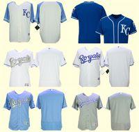 boş beyaz mayo toptan satış-Erkek Kansas City BLANK Royals Beyaz Gri Kraliyet Serin Baz Flex Taban Beyzbol Formalar Ücretsiz Kargo