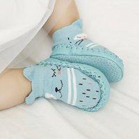 yeni doğan yılbaşı çorapları toptan satış-Puseky Pamuk Bebek Çorap Yenidoğan Için Noel Çorap Hediye Hayvan Baskı Çocuk Erkek Kız Için Kauçuk Tabanlar Ile Anti Kayma Yenidoğan