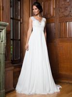 ingrosso dimensione bianca del vestito da partito 18-Grace White Avorio in chiffon con scollo a V Applique Guaina Abiti da sposa Abiti da sposa Abiti da festa da sposa Formato personalizzato 2-18 WW212196