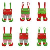 Wholesale christmas elf resale online - Christmas Candy Bags Fabric xmas Elf Pants Stocking gifts Bag Kids X mas Party Decorations Ornament red wine bottle cover storage Pocket