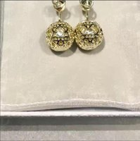 Wholesale earring pearl letter resale online - New fashion high quality letter pendant hollow ball pearl earrings ladies gift accessories
