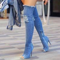 fermuarlı yüksek topuk ayakkabıları toptan satış-Seksi Çizmeler Kadın Uyluk Yüksek Çizmeler Diz Üzerinde Yüksek Dipleri Peep Toe Pompaları Delik Mavi Topuklar Fermuar Denim Kot Ayakkabı Botas Mujer