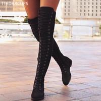 длинный шнурок оптовых-Сексуальная зашнуровать над коленом сапоги женщины Рим стиль сапоги женщины квартиры обувь женщина замша длинные зимние бедра высокие 35-43