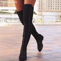 bota larga de encaje al por mayor-Sexy Lace Up Over Knee Boots Botas estilo mujer roma Zapatos de mujer Pisos Mujer suede largo Invierno Muslo Alto 35-43