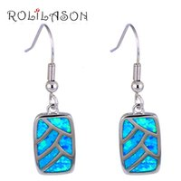 Wholesale high quality earrings for women resale online - Trendy Square Design High Quality Blue Fire Opal Stamped sterling Silver Dangle Earrings for Women Fashion Jewelry OE552