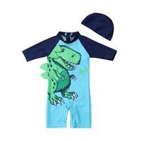 süße badeanzug-set großhandel-Baby Kinder Junge Sommer Cartoon Blau Schwimmen Dinosaurier Nette Langarm Strandbadebekleidung Badeanzug Badehose + Hut Set