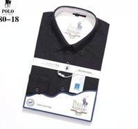 cuello del polo de invierno al por mayor-2018 19 otoño invierno para hombre Diseñador OXFORD Camisa de vestir de manga larga para hombre Camisas sociales de cocodrilo de moda EE. UU. Marca CL polo camisas