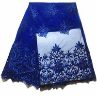 французские кружева оптовых-Fashion 2019 New african lace fabrics nigerian lace fabrics with  french fabric for wedding