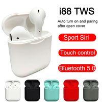 blackberry touch smartphone großhandel-i88 tws Bluetooth-Kopfhörer Drahtlose Bluetooth 5.0-Ohrhörer Berührungssteuerung 3D-Surround-Sound-Ladekoffer für alle Smartphones PK i10 i12