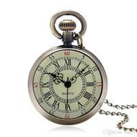 relógio redondo relógio digital venda por atacado-Hot Mais Recente Mulheres Homens Roman Digital Relógio De Bolso De Vidro Relógio de Bolso Cadeia de Quartzo Rodada Relógios Rosto Aberto Presente Da Amizade