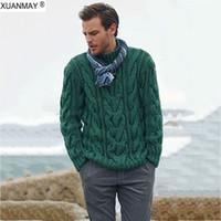 pulls tricotés à la main achat en gros de-2019 Pull d'hiver d'homme Pull Casual Pull doux et confortable manteau de chandail tricoté main chaud épais hommes frais de
