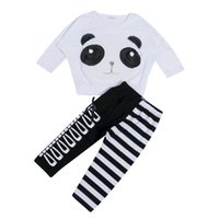 Wholesale Toddler Children Kids Baby Girls Panda Long Sleeve T shirt Striped Bow Leggings Outfits Clothing Set