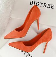 vestidos de mujer naranja al por mayor-2019 nuevo diseñador de moda zapatos de mujer ante anteojos boca baja tacones altos 8 cm cm sexy era delgado negro rojo naranja 9 zapatos de vestir de color