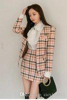 kore palto etekleri toptan satış-Bahar Yün Ceket Pop2019 Kore Versiyonu Ince Çanta Kalça Etek Beyaz Gömlek Takım Üç Parça Elbise