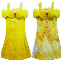 Wholesale beauty beast costume for kids for sale - Group buy Yellow Party Flower Girl Dresses Tulle Tutu Dress Belle Princess Costume Halloween Beauty and the Beast Cosplay Dress For Kids