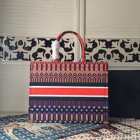 ingrosso stampa su tela-borse di cuoio casuali di modo di alta qualità delle donne hanno stampato la tela con le borse della borsa della borsa della borsa della pelle bovina del ricamo Shopping il trasporto libero