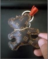 encantos do anel chave do saco venda por atacado-Saco fashoin charme urso animal bonito chaveiro acessórios cão chaveiro chaveiro de couro pu padrão de urso carro chaveiro saco de jóias saco de charme