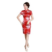 vestido corto de las mujeres chinas al por mayor-Historia de Shangai manga corta estampado de flores cheongsam Qipao corto vestido chino vestido oriental vestidos de fiesta para las mujeres