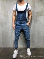 ropa de moto overoles al por mayor-19 ropa de hombre agujero envejecido apretado diseñador de moda pantalones motocicleta jinete pantalones vaqueros de las medias envío libre