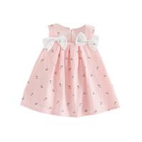 bebek kızı gelinlik rahat toptan satış-Yaz Bebek Yay-düğüm Çiçek Elbise Çocuklar Kız Prenses Parti Düğün Yürüyor Kolsuz Casual Tutu Sundress 0-24 M Yeni
