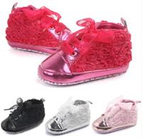 Wholesale plain baby shoes online - Foreign Trade Baby Shoes New Spring Baby Shoes Plain Rose Walking Shoes WL121
