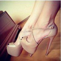 ingrosso grandi sandali inferiori-2019 Donne New Fashion Red Bottom Tacchi Alti Scarpe Da Sera Partito scarpe tacco alto super stiletto Peep Toe sandali big size da 34 a 45