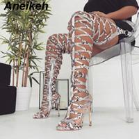 rom-stil high heel großhandel-Aneikeh 2019 Fashion Serpentine-Pumpen-Frauen-Schenkel Hohe Over-the-Knie-Heel Stiefel Hohle Rom-Art-Gladiator Reitstiefel Schuhe