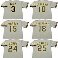 camisa de beisebol 15 venda por atacado-PIRATAS Homens 3 JAY BELL 10 JIM LEYLAND 15 DOUG DRABEK 18 ANDY VAN SLYKE 24 BARRY BONDS 25 BOBBY BONILLA PITTSBURGH 1992 Camisola de Basebol