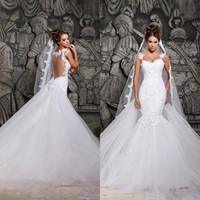 Wholesale puffy wedding dress model resale online - Hot Sale Berta Puffy Tulle Skirt Mermaid Wedding Dresses Applique Lace Real Images Bridal Gowns Cheap Backless See Sheer Wedding Dress