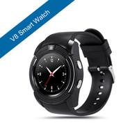 ingrosso cerchio orologio-Camera V8 Sport Bluetooth intelligente orologio con Clock Sync Notifier SIM TF card IPS HD Full Circle display orologio da polso per il telefono Android