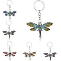 Crystal Keychains Animal Dragonfly Antique Silver Rhinestone Key Chain Rings Holder Car Jewelry Fashion Pendant Keyrings for Men Women Gift