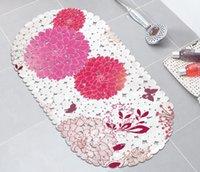 tapetes de segurança pvc venda por atacado-Tapete floral do banheiro da esteira do banho Tapete do chuveiro da segurança com os copos transparentes do otário do deslizamento não o otário do PVC