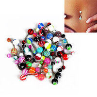 Wholesale piercing bar lip acrylic online - 100 set Colorful Sexy Belly Bars Body Piercing Button Ring Navel Barbell Jewerly Lip Piercing Unisex Fashion Jewelry