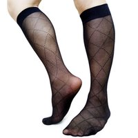 Wholesale black see through stockings resale online - See Through Plaid Sexy Business Socks For Men Formal Dress suit Stocking High Elastic Tube Socks Male Socks Collection