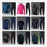 Wholesale white blue full suits for sale - Group buy 2019 kids PSG soccer training suit Paris child Survetement maillot de foot MBAPPE POGBA sportswear set football tracksuit