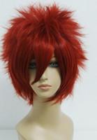hitman yeniden doğmuş kostümler toptan satış-LL 004255 Sıcak Anime Hitman Reborn-Kozato Enma Yeni Moda Kısa Kırmızı Cosplay Kostüm Peruk